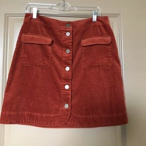 Corduroy rust colored A-line skirt